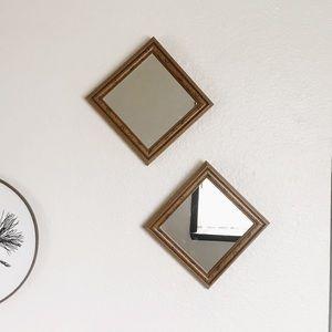 Vintage Wood Mirror Set (2) Boho